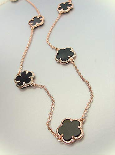 "Wholesale Fashion Necklace - Exquisite Black Onyx Clover Clovers Rose Gold Plated Chain 18"" Necklace For Women"