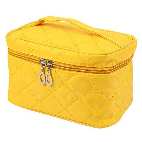 LtrottedJ - LtrottedJ Women Square Case grain Of Pure Color Cosmetic Bag (Yellow)