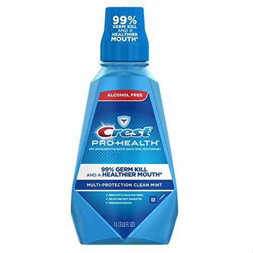 Crest Pro-Health Multi-Protection Alcohol Free Mouthwash, Clean Mint, 1 L (pack of 4) 4 Count - Crest Pro-Health Multi-Protection Alcohol Free Mouthwash, Clean Mint, 1 L (pack of 4) 4 Count