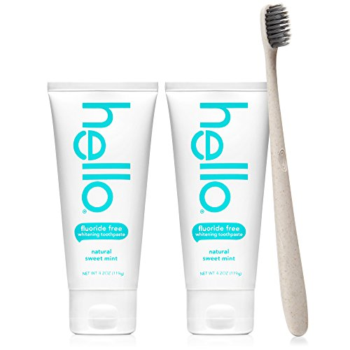 Hello Oral Care - Hello Oral Care Whitening Fluoride Free Toothpaste Twin Pack with Tan BPA-Free Toothbrush, Natural Sweet Mint
