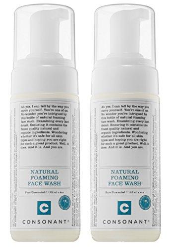 Consonant - Consonant Natural Foaming Face Wash (Pack of 2) with Tamanu Oil, Tea Tree Oil, and Green Tea, 125 ml