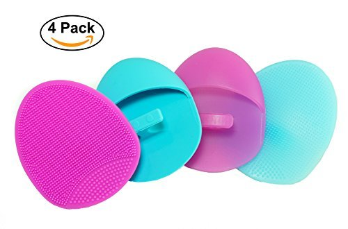 Vivify Basics - Silicone Facial Cleansing Brush Soft and Medium Set (4 pack) - Deep Cleaning Brush, Exfoliating Pad, Massage Scrubber, For Sensitive Skin, Blackhead and Makeup Removal, Pore Cleansing and Baby Shower by Keklle
