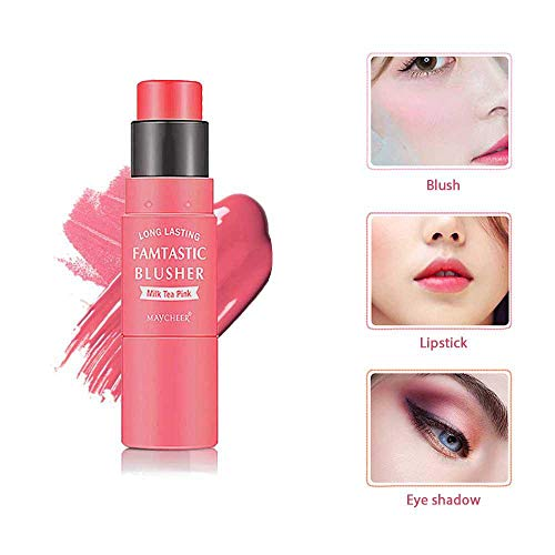 Leegoal - Blush Stick, LEEGOAL 3 in 1 Waterproof and Moisturizing Blush Makeup Stick for Cheek, Lip, Eye Shadow