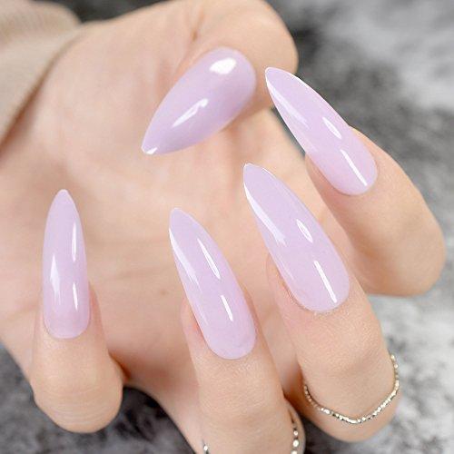 Aaviland - Extra Long Gray Marble stiletto False Nails Tips Oval Sharp End stilettos Fake Nail ABS Artificial DIY UV Gel Nail Art Tips Z752