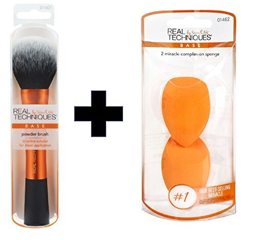 Real Techniques - Real Techniques Value Set Real Techniques Powder Brush Plus 2 Miracle Complexion Sponges