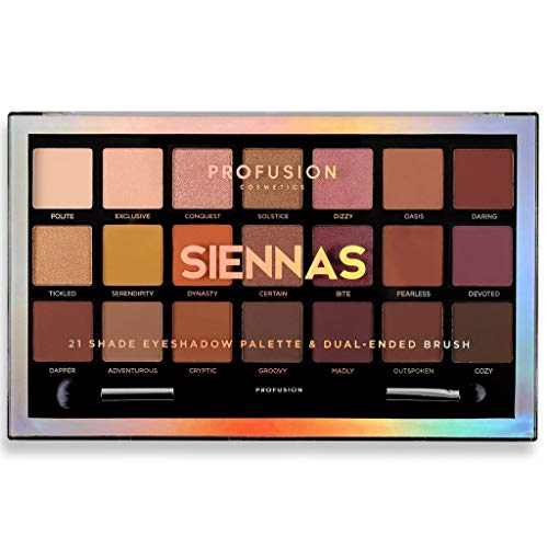 Profusion Cosmetics - 21 Shade Eyeshadow Palette Collection & Brush, Siennas