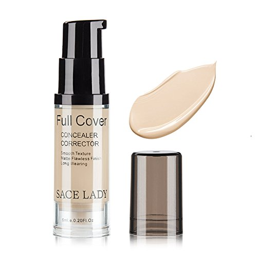 SACE LADY - Pro Full Cover Liquid Concealer, Waterproof Smooth Matte Flawless Finish Creamy Concealer Foundation for Eye Dark Circles Spot Face Concealer Makeup, Size:6ml/0.20Fl Oz, Light Natural