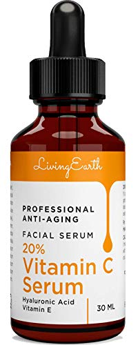 Living Earth - Vitamin C Serum with Hyaluronic Acid for Face, Eyes and Neck - Organic Skin Care and All Natural Ingredients - Best Professional Anti Aging, Anti Wrinkle, Fade Age Spots and Heal Sun Damage, 1 oz - M
