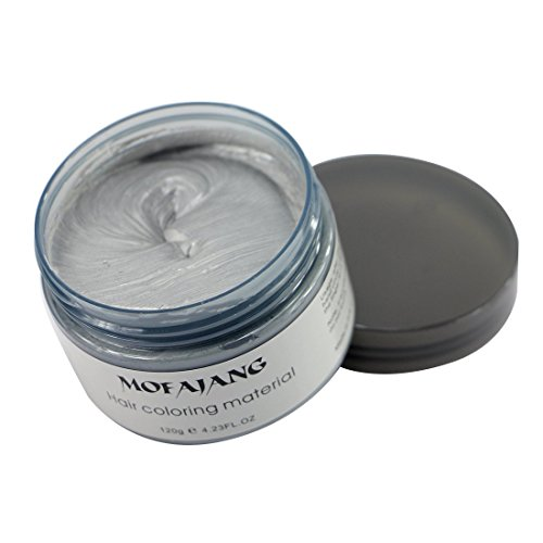 Qiyuxow - Ash Grey Instant Hair Color Wax, Qiyuxow Temporary Hair Dye Creme Coloring Material, Quick Dry Easy Wash for Daily use Festivals Parties Stag & Hen Events Clubbing Raves Halloween & Fancy dress