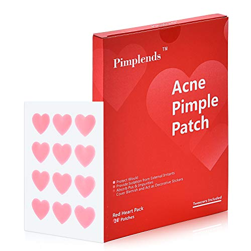 Porter's Lodge - Acne Pimple Patch Drug-free Hydrocolloid Bandages Red Heart Shape | Acne Patch Pimple Pach | Acne Cover Patch | Acne Treatment Acne Stickers,Whiteheads Blackheads Remover (24 Patches)