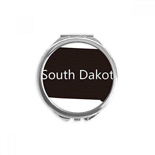 Diythinker - South Dakota USA Map Silhouette Mirror Round Portable Hand Pocket Makeup