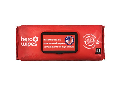 Hero Wipes - Hero Wipes On Scene Decon Body Wipes for Firefighters (Total 576 Count, case of 12 pouches) Removes 98% of Carcinogens - All Natural Alcohol Free Formula - Removes Soot, Smoke and Toxins - Made in USA
