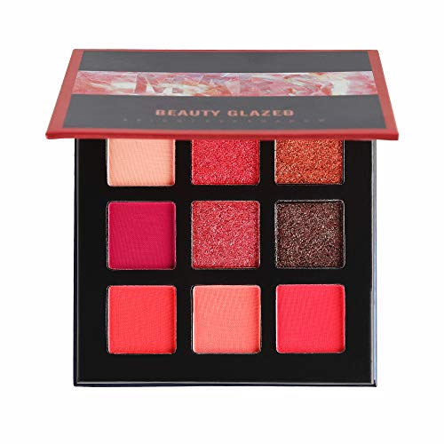 Beauty Glazed - Beauty Glazed 9 Color Matte and Shimmer Eyeshadow Palette Makeup Kit Party Charming Pigmented Eye Shadow Smooth Long Lasting Eye Makeup (MARS)