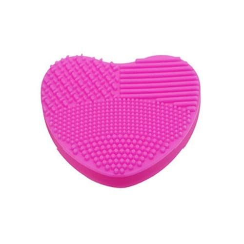 Nobitas - Makeup Brush Cleaner - Heart Shape Clean Make Up Brushes Wash Brush Bathroom Silica Glove Scrubber Board Cosmetic Cleaning Tools For Makeup Brushes
