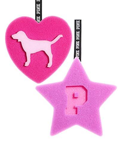 Kiss Usa - Victoria's Secret PINK Bath Bundle (2 Sponge Loofah Star & Heart)