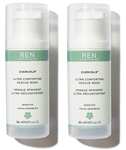 Ren Skincare - REN Skincare Evercalm Ultra Comforting Rescue Mask (Pack of 2) with Sunflower Seed Wax, Jojoba Seed Oil, and Lingonberry Seed Oil, 1.7 fl. oz.
