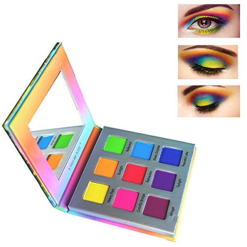 amazon.com - Highly Pigmented Eyeshadow Palette,YMH BEAUTE 9 Colors Bright Eye Makeup Palette Matte Eye Shadow Palettes Long Lasting Waterproof Colorful Cruelty-free Vegan Cosmetics, Rainbow