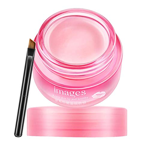 Leewa - Lip Mask Anti-Wrinkle Anti-ageing Exfoliating Lifting Moisturize Cool Soothing Sexy Collagen Crystal Lip Care Mask with Lip Brush (Pink)