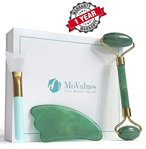 Movalues - Original Jade Roller and Gua Sha Tools Se