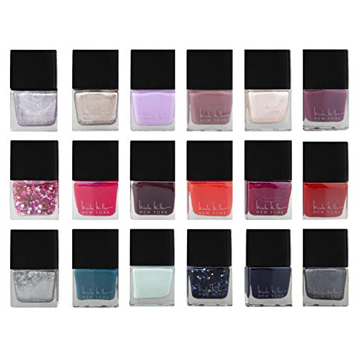 Nicole Miller - Nicole Miller Nailed It Nail Polish Set, Nail Lacquer DIY Home and Gift Kit for Fingernails and Toenails, 18 Trendy and Glossy Colors (Metallic, Glitter, Gold, Silver, Reds, Blues and Purples)