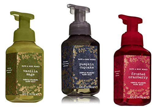 Bath & Body Works - Gentle Foaming Hand Soap 3 pack 8.75 each (Vanilla Sage, Frosted Cranberry, Pumpkin Cake)