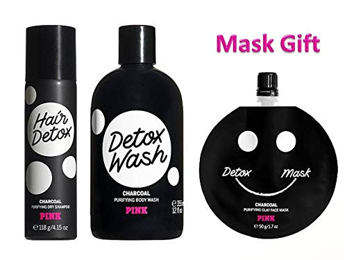 amazon.com - NEW! PINK SET of 3 - CHARCOAL DETOX - Hair Detox Purifying Dry Shampoo, Purifying Body Wash and Mini Whipped Coco Nourishing Face Mask GIFT