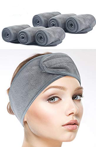 SINLAND - Sinland Spa Headband for Women 6 Counts Adjustable Makeup Hair Band with Magic Tape,Head Wrap for Face Care,Mask, Makeup and Sports