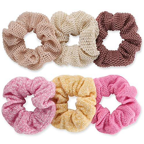 Funtopia - Scrunchies for Hair, Funtopia Knit Hair Scrunchies Soft Hair Bobbles Scrunchy Hair Ties Ropes Ponytail Holder Elastic Hair Bands Hair Scrunchies for Girls and Women Hair Accessories, 6 Pack
