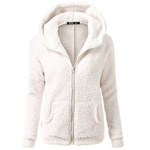 SFE-Women Apparel - SFE Women Winter Faux Fur Hoodie Cotton Jacket Fashion Solid Color Warm Coat Down Jacket (White, L)