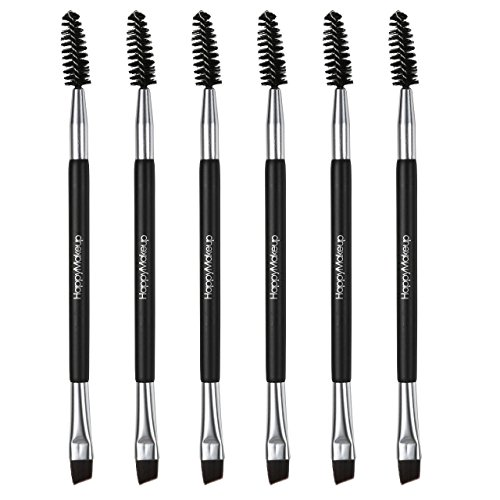 CCbeauty - CCbeauty 6-Packs Double Ended Spoolie and Angled Eyebrow Brushes Set Makup Eyebrow Kit and Eyebrow Comb for Application of Brow Powders Waxes Gels and Blends (#1)