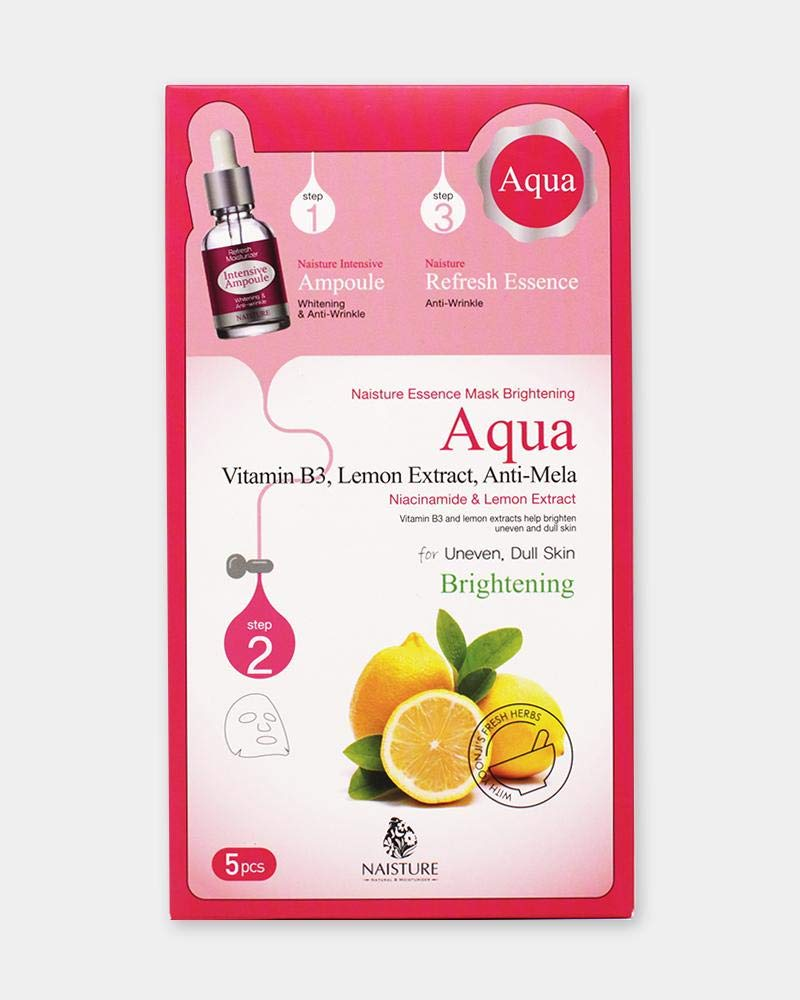 Naisture - Naisture Aqua Face Mask Pack (5 Sheets), 3 Step Full Facial Treatment with Lemon and Vitamin B3 for Uneven, Dull Skin - Brightening