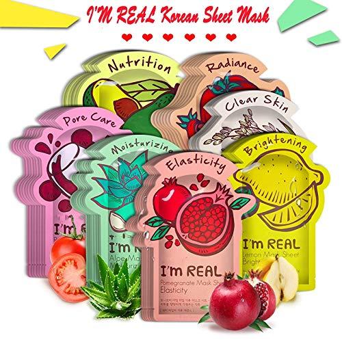 HKML MAIN STORE - I'm REAL Tony moly Face Mask Korean Sheet Face Mask Moisturizing Facial Mask Shrink Pores Anti-Aging Hyaluronic acid Essence