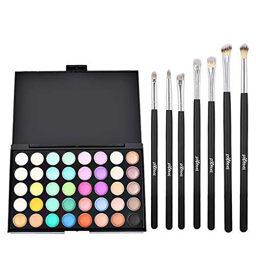 Hennta Eyeshdow - Hennta Sexy Cosmetic Matte Eyeshadow Cream Eye Makeup Palette Shimmer Set 40 Color+7pc Brush Set Waterproof Sweat-Proof Long Lasting Pigmented(15x10x0.9cm)