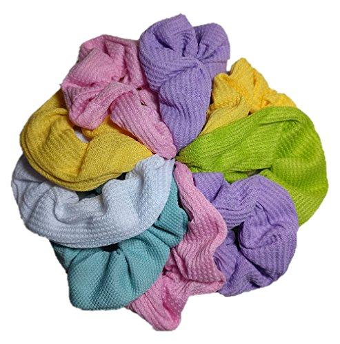 Threddies - Scrunchie Set, 9 Thermal Cotton Scrunchies, 90s Style (Pastel Colors)