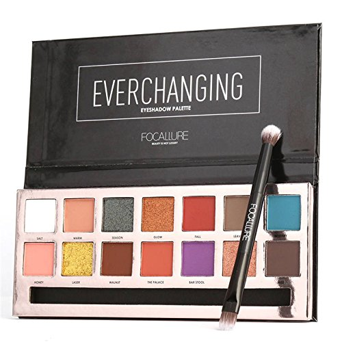 Inspired Capital L - 14 Colors Classic Matte Shimmer and Pearly Tropical Everchanging Textured Eyeshadow Palette (Everchanigng)