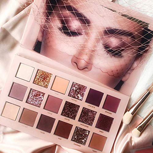 DICPOLIA Eyeshadow Palette - Eyeshadow Palette Pressed Pearls Reflective 18 Colors Glitter Shimmer Eye Shadow Pigmented Shadow Palette Nudes Pink Copper Shades Long Lasting Waterproof Eye Make Up Cosmetics (Multicolor)