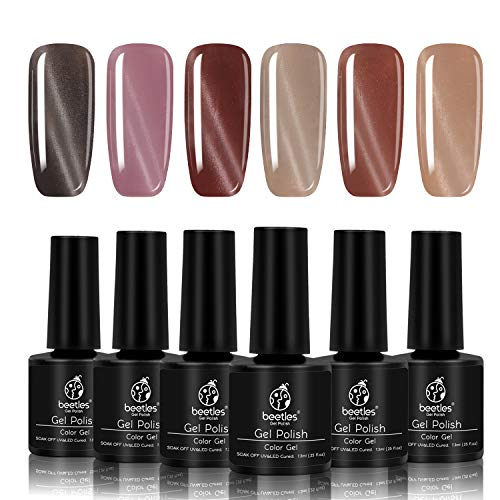 beetles Gel Polish - Beetles Gray Cat Eye Gel Polish Set - Pack of 6 Colors and 1 Magnet Stick - Long Lasting Soak Off UV LED Gel, 7.3ml Each Bottle