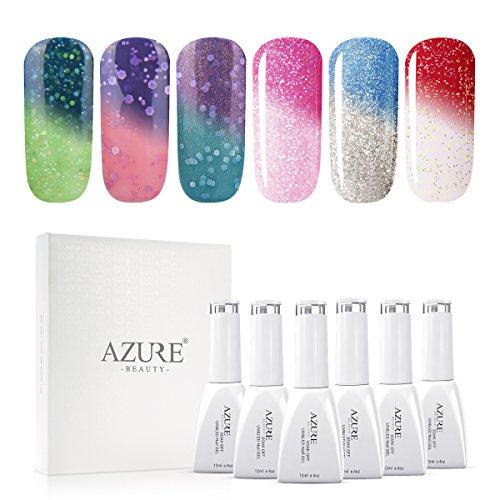 AZUREBEAUTY - UV LED Gel Nail Polish Set Mood Color Changing Gel Polish Set, 12ML 6 Colors by AZUREBEAUTY
