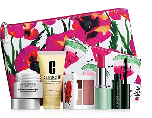 Clinique - New 2016 Clinique 7 pc Makeup Skincare Gift Set Pink Floral Bag (Warm)