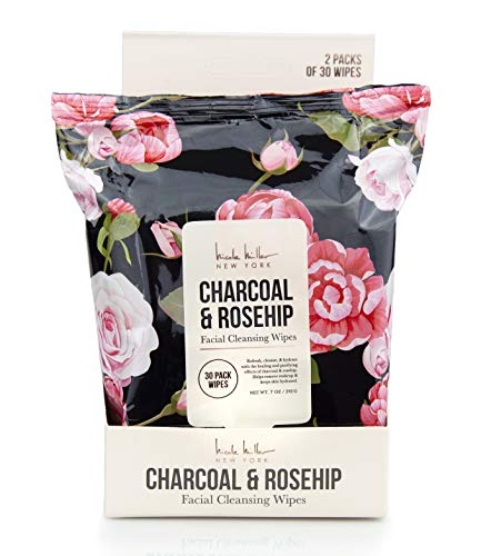 Nicole Miller - Charcoal and Rosehip Facial Cleansing and Make Up Remover Wipes