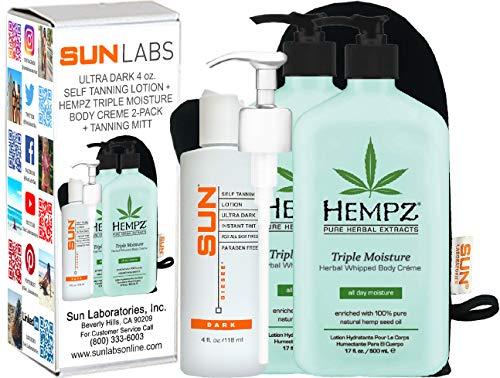 Hempz - Hempz Triple Moisture Herbal Whipped Body Crème 17 oz 2- Pack + Dark Self tanner 4 oz + Lotion Applicator