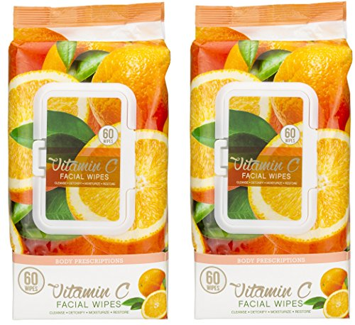 Body Prescriptions - Body Prescriptions -2 Pack (60 Count Each) Vitamin C Facial Cleansing Wipes