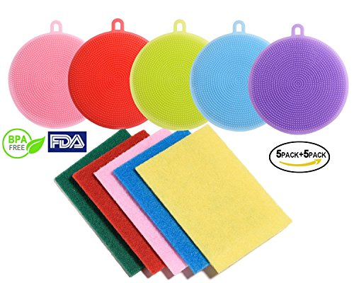 MJ-Group - Multipurpose Silicone Sponge 5 Piece Food-Grade Antibacterial Silicone Dish Scrubber for Washing Pot Pan Bowl Glass Fruit and Vegetable Non Stick Dishwashing Brush plus 5 Pack Scouring Pads