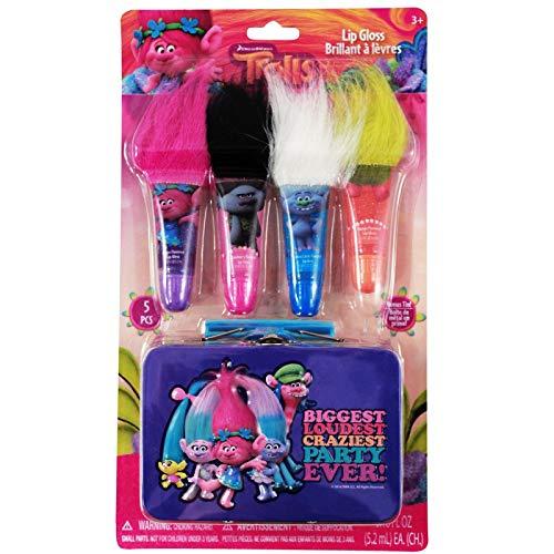 Dreamworks - Dreamworks Trolls 4pk Girls Flavored Lip Gloss With Troll Hair and Mini Tin