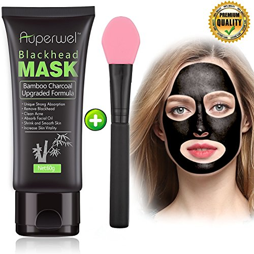 Auperwel - Blackhead Remover Mask Black Mask - Auperwel Purifying Quality Peel off Charcoal Deep Cleaning Mud Facial Mask 2.11 ounce (black mask with brush)