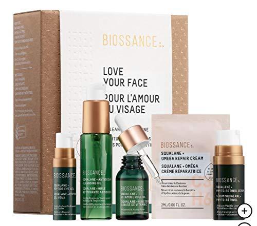 Biossance - BIOSSANCE Love Your Face: Squalane + Antioxidant Cleansing Oil, Peptide Eye Gel, Phyto-Retinol Serum, Vitamin C Rose Oil, Omega Repair Cream