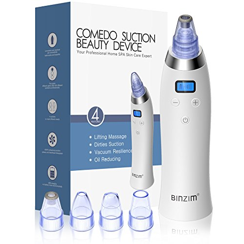 Binzim - Blackhead Remover Pore Vacuum - BINZIM Upgraded USB Rechargeable Pore Sucker Acne Comedone Extractor Tool with 5 Adjustable Suction Power and 4 Replacement Probes