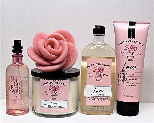 Bath & Body Works - Bath and Body Works Aromatherapy Love — Rose & Vanilla 3-Wick Candle, Pillow Mist, Body Wash & Foam Bath, Body Cream & Rose Sponge 5 pc Bundle