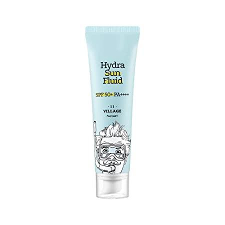 VILLAGE11FACTORY Village 11 Factory Sunscreen, Broad Spectrum SPF, UVA/UVB Protection with Centella Asiatica for Sensitive Skin, Moisturizing Facial Sunscreen, Cruelty Free, 50ml 1.69 fl oz (Hydra Sun Fluid (Blue))