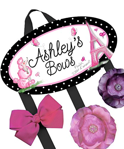 Toad and Lily - Toad and Lily Ooh Lala Poodle Paris HairBow Holder - Bows Clips Organizer - Girls Personalized Hair Bow and Clip Hanger HB0071